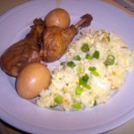 Chinese Soy Sauce Chicken and Eggs with Fried Rice