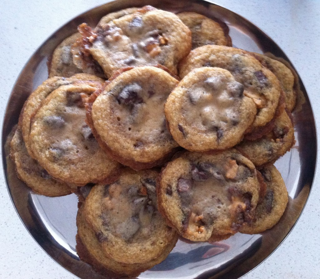 ... Chocolate Chip & Snickers Bar Cookies Recipe | Chasing James Beard